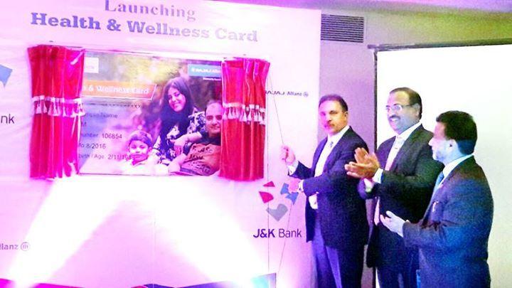 J&K Bank Chairman and CEO Parvez Ahmed launching Bajaj Allianz Health and Wellness Card at Srinagar.