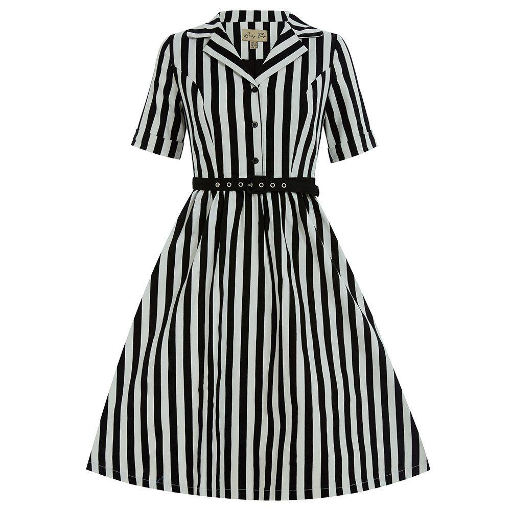 Bletchley Black Stripe Swing Dress | Vintage Style Dresses - Lindy ...