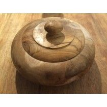 A beautiful rustic teak root bread pot with a unique design. A smooth round shape, displaying the natural grain of the wood, light and dark shading only enhance the beauty of this bread pot. Perfect to fill with tasty homemade bread, ideal to place centre stage on any dining table