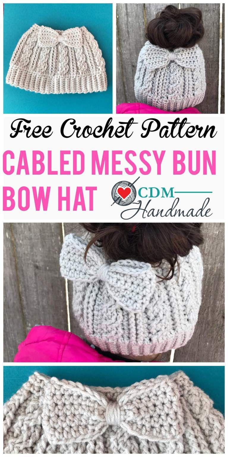 2e747007 cabled messy bun bow hat pinterest | Crochet | Easy crochet hat ...