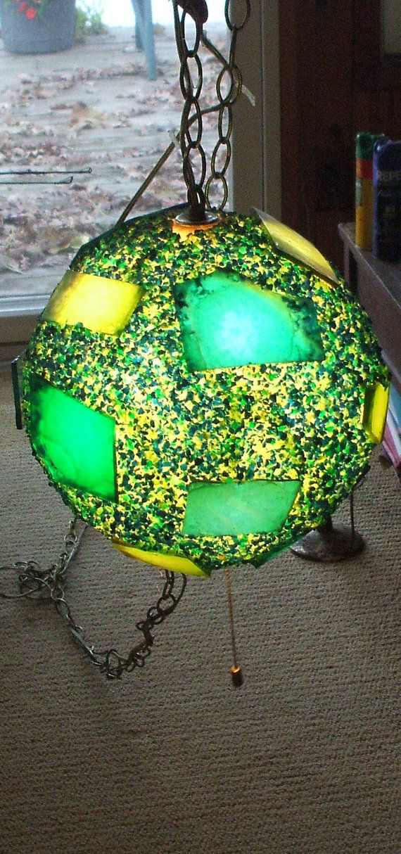 1960 S Confetti Plastic Orb Hanging Lamp In Blues Greens