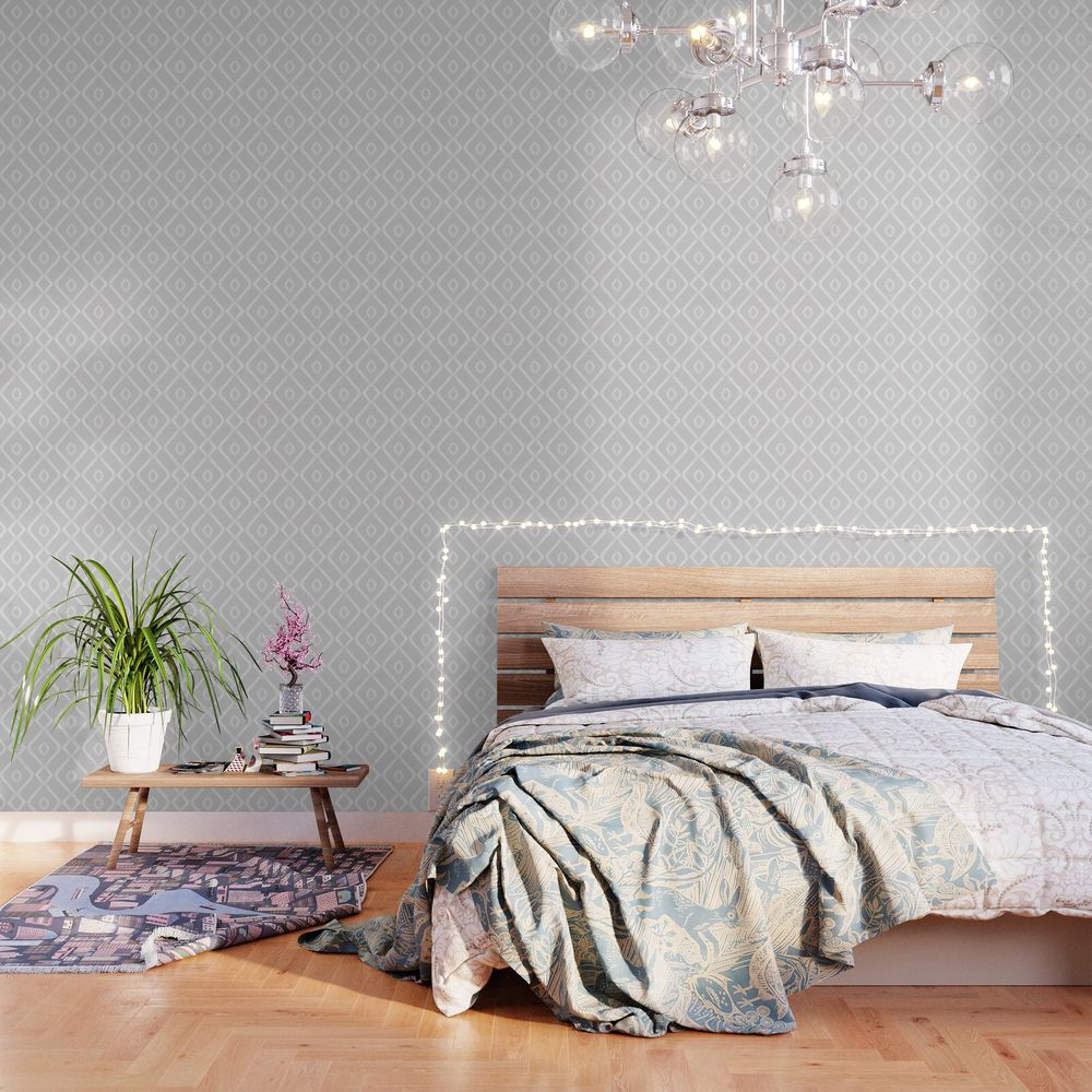 Modern Boho Ogee In Grey Wallpaper By Beckybailey1 Products In