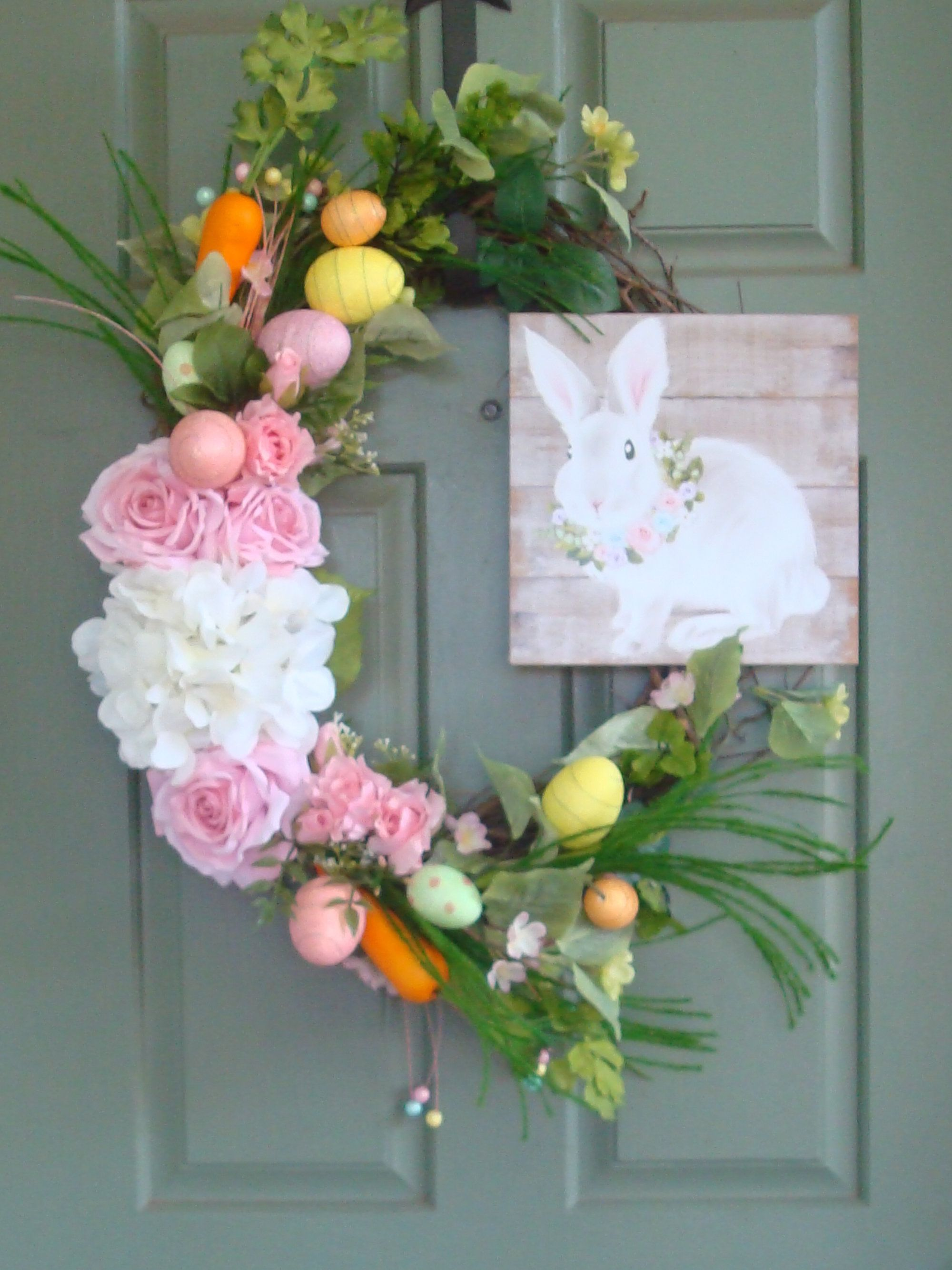 Photo of Easter Grapevine Wreath. Easter bunny wreath, Easter door hanger, Front Porch decor