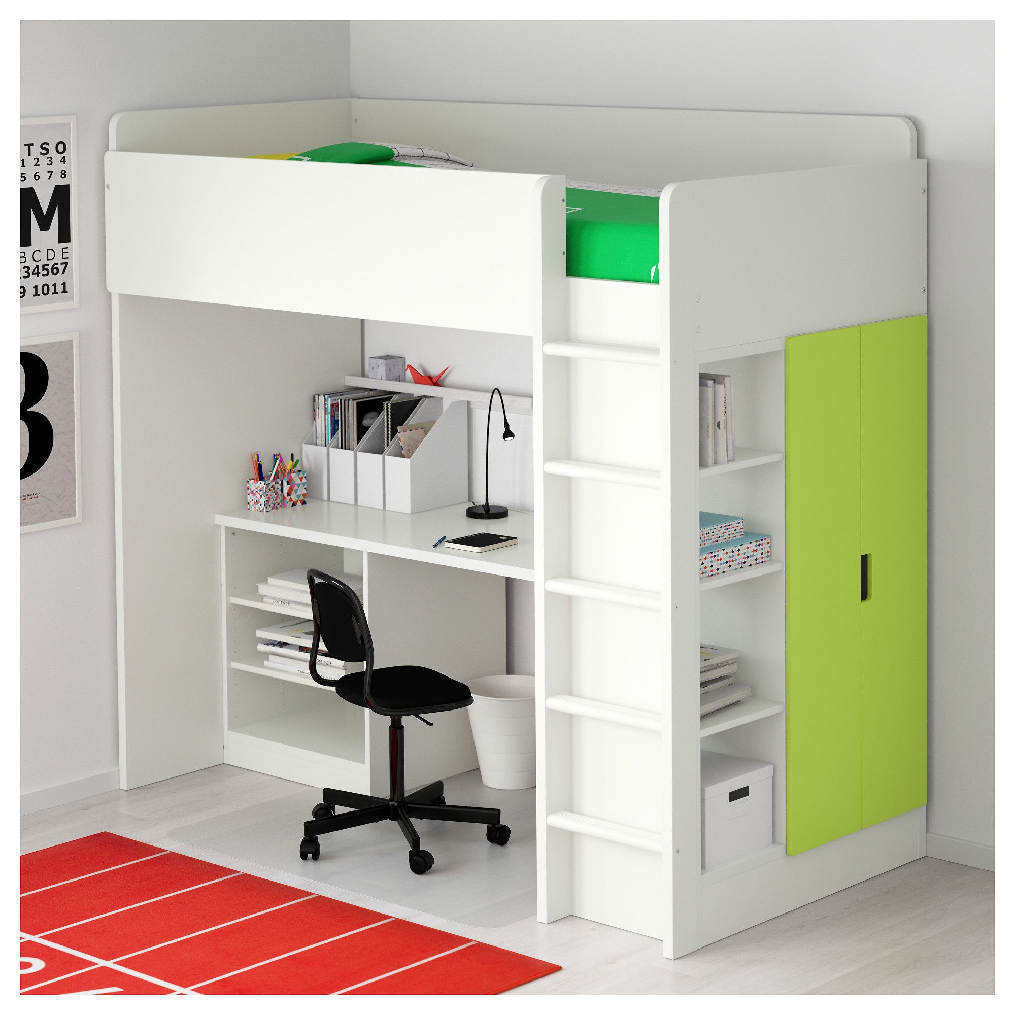 Loft bed with desk white  IKEA  STUVA Loft bed with  shelves doors white green  Products