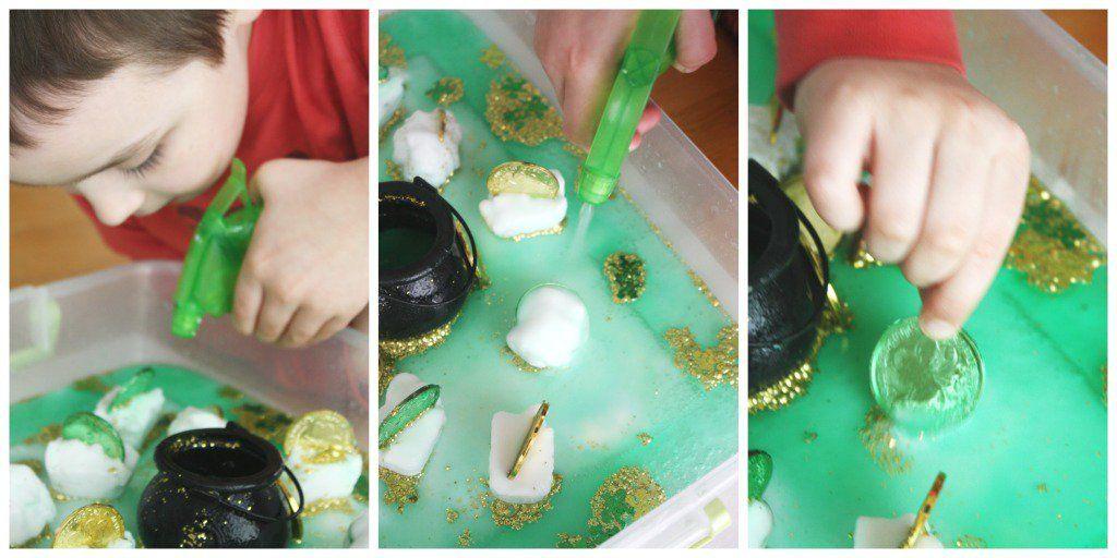 St Patricks Day Magic Leprechaun Activity Spraying Coins Treasure Hunt