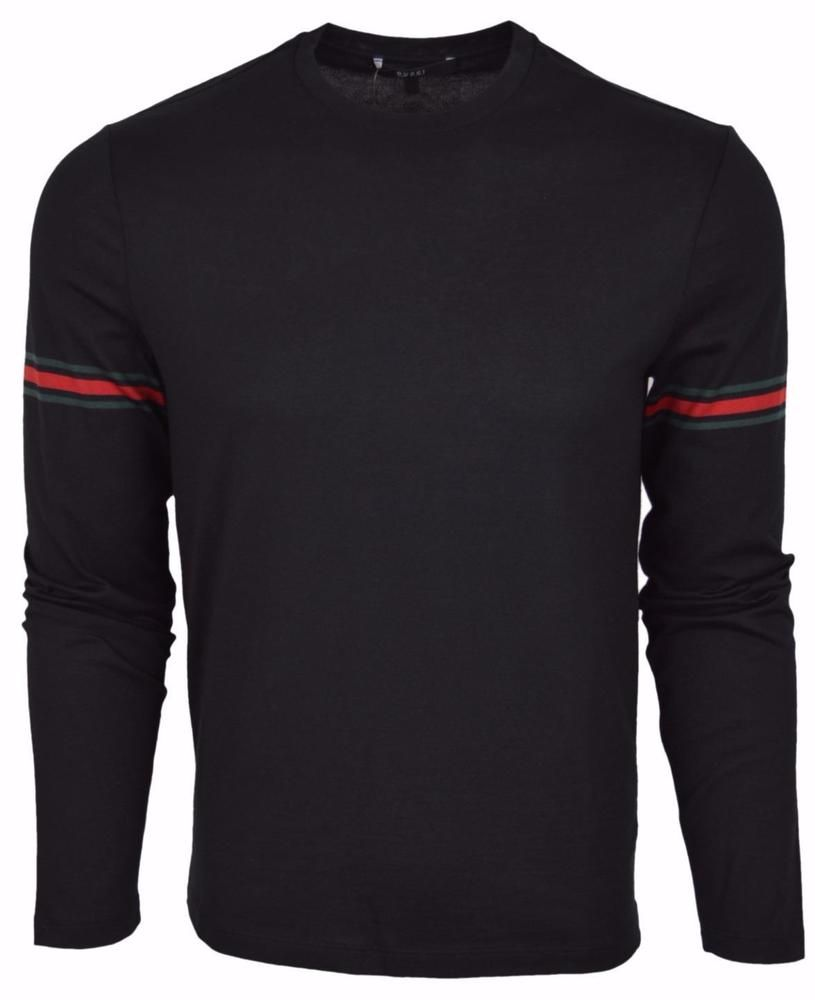 972130ab9 New Gucci Men's Black Jersey Cotton Red Green Web Long Sleeved T Shirt L # Gucci #EmbellishedTee