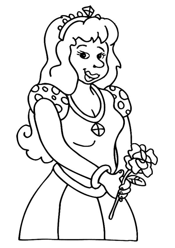 Princess Holding Rose In Middle Ages Coloring Page Color Luna Coloring Pages Middle Ages Coloring Pictures