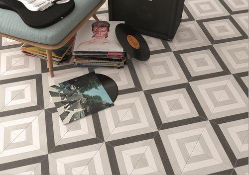 Carrelage géométrique noir et gris 20x20 cm SCANDY ETT Carrelage