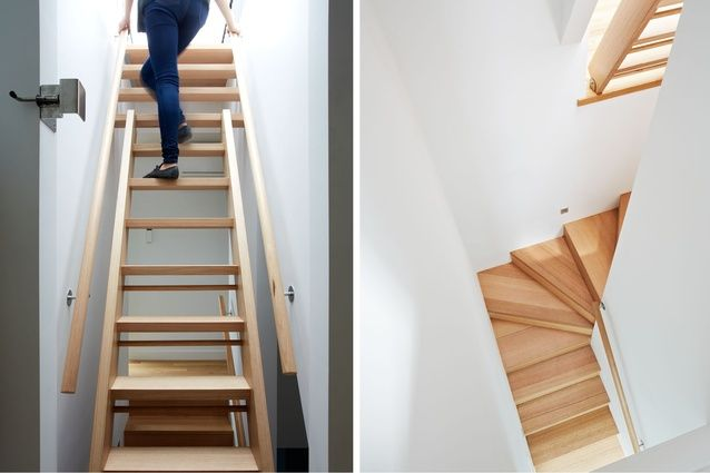 The staircase to the roof deck is retractable.