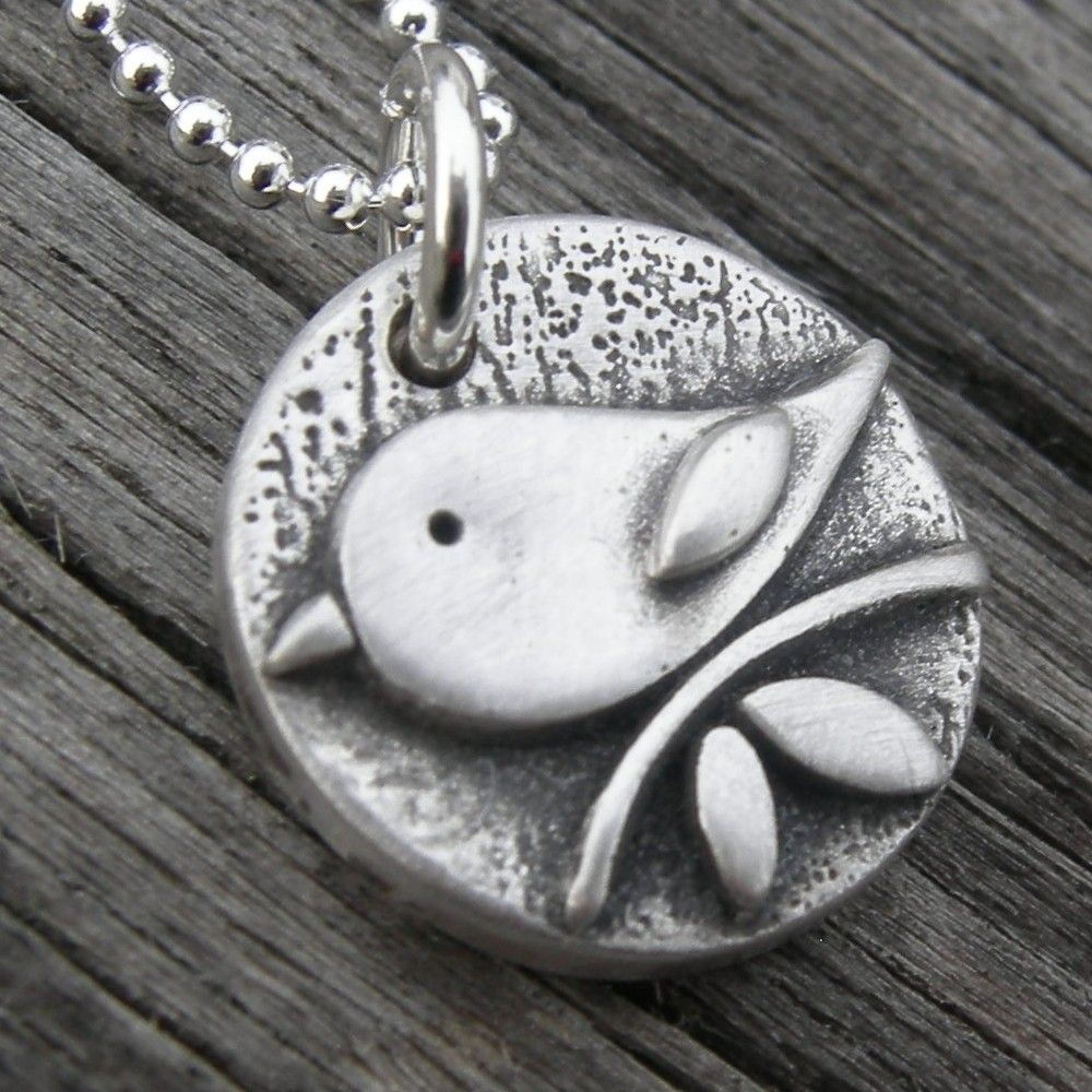 Personalized Solo Tweet Fine Silver Bird Pendant PMC Original Mom Mother Gift Handstamped. $46.00, via Etsy.