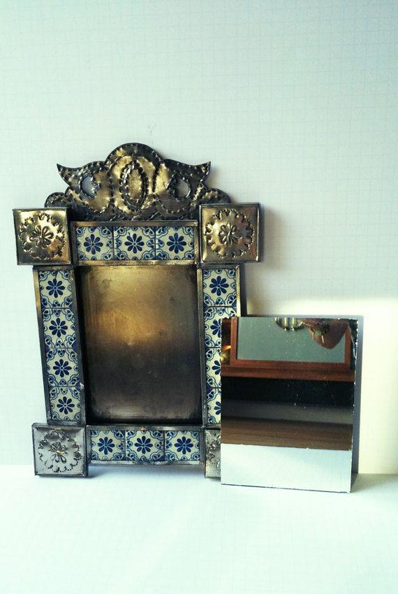Vintage perfora lata mexicana Talavera azulejos por RosiesTesoros