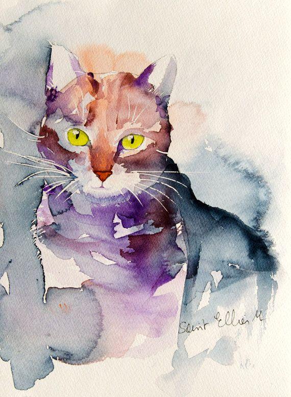 cat portrait original painting original watercolor of a. Black Bedroom Furniture Sets. Home Design Ideas