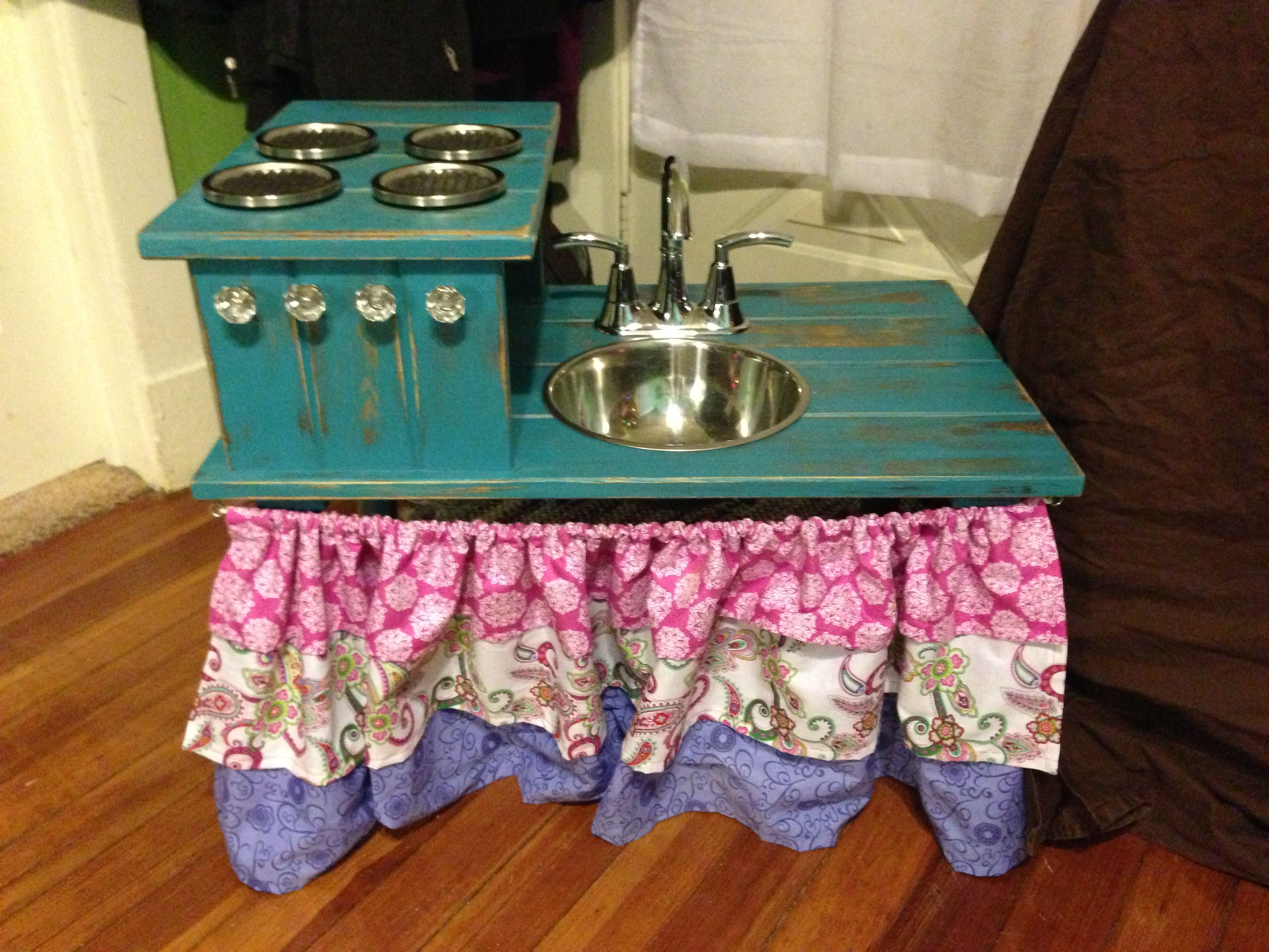 Pretend play kitchen we made for our girls Christmas 2012