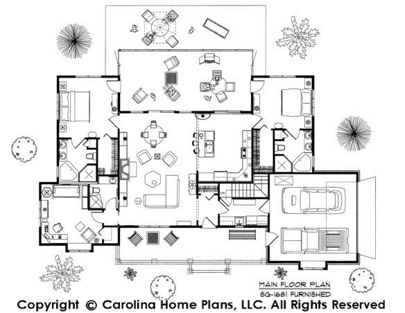 Dual Master Suite Floor Plan Sg 1681 Aa By Carolina Home Plans Master Suite Floor Plan Bedroom Floor Plans Floor Plan Design