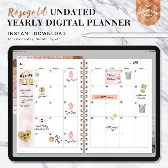 Digital Planner iPad Planner Goodnotes Planner Rosegold | Etsy