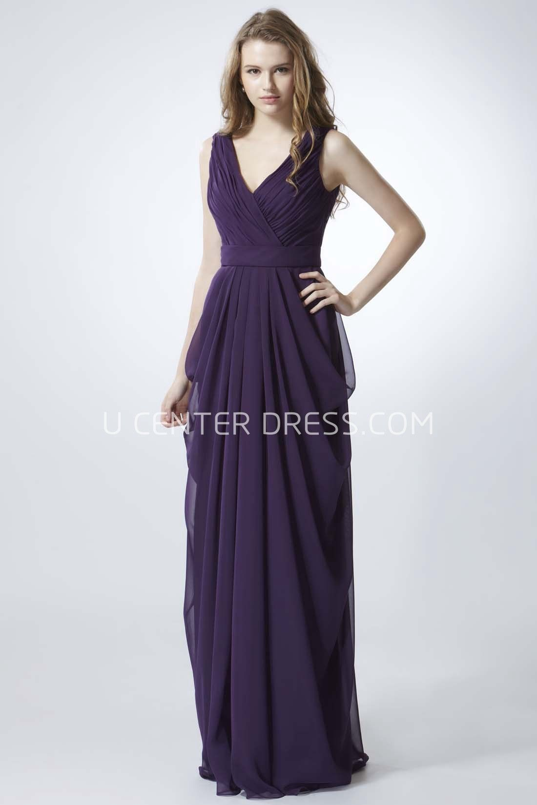31874578c0d US 95.69-Sheath Sleeveless V-Neck Chiffon Long Purple Bridesmaid Dress.  http