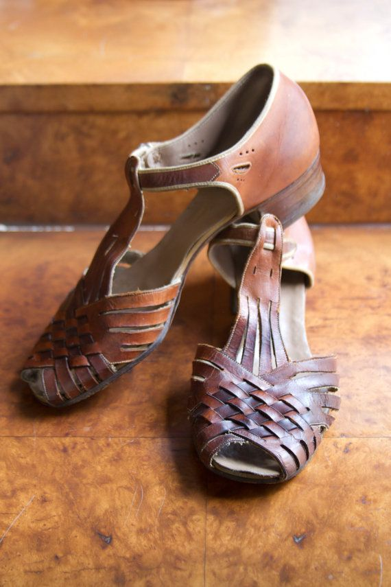 1920's Woven Leather TStrap Sandals by Surprise by GarbOhVintage, $98.00