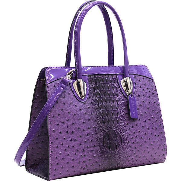 Dasein Ostrich Satchel with Shoulder Strap - Purple - Satchels ($49) ❤ liked on Polyvore featuring bags, handbags, purple, purple purse, purple satchel handbag, handbag satchel, pocket purse and purple satchel