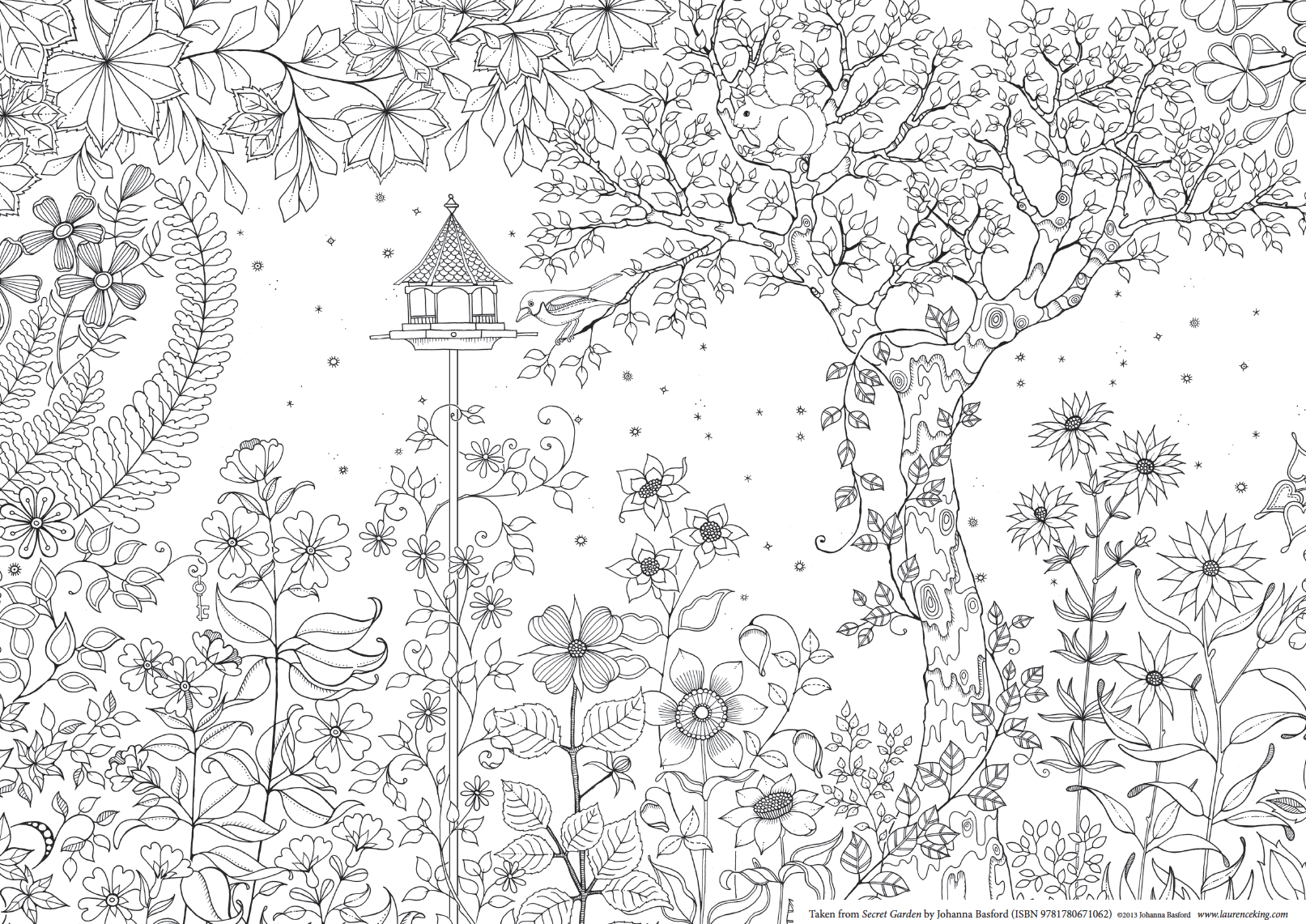 The Secret Garden Adult Colouring Page By Johanna Basford