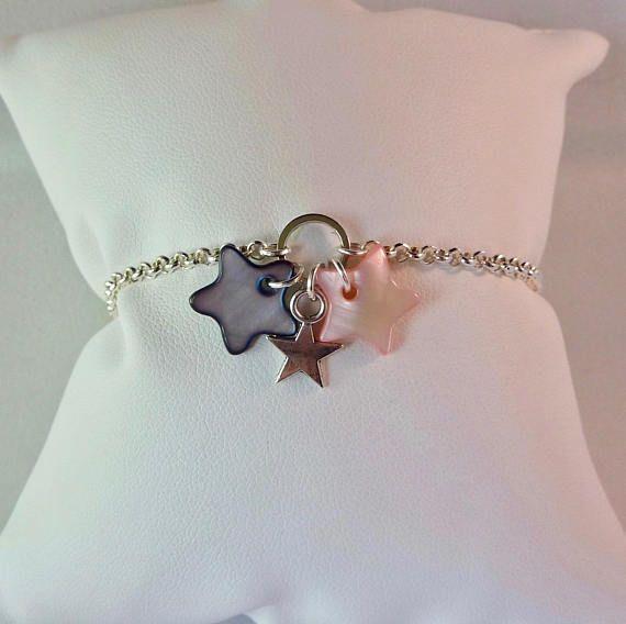 bas prix nouveau style de sélectionner pour dernier Bracelet, silver plated chain, closed ring, stars, mother of ...