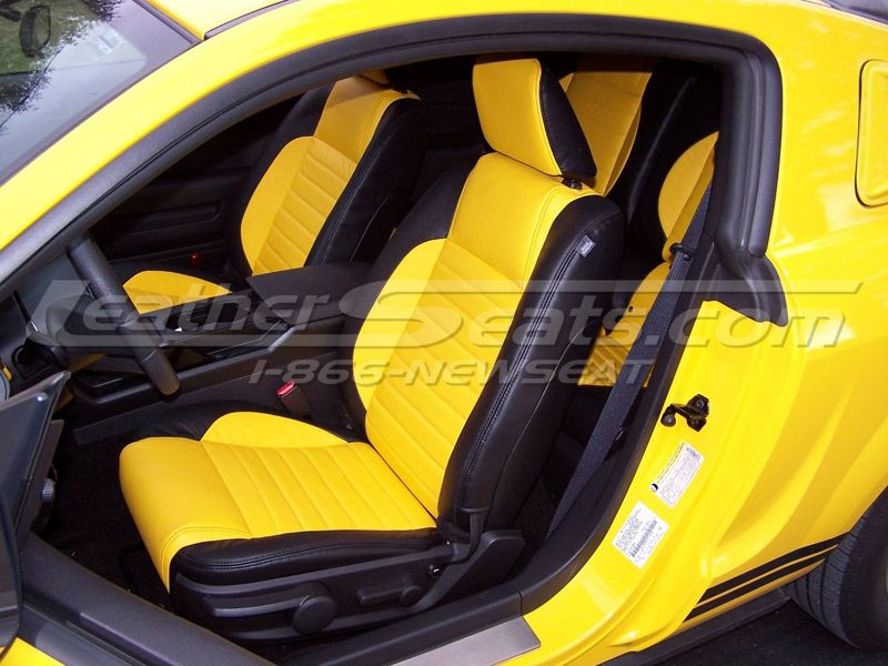 2010 ford mustang two tone black w sundance yellow leather interior seats auto addiction. Black Bedroom Furniture Sets. Home Design Ideas