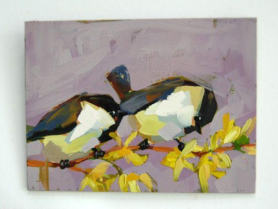 Two Chickadees and Forsythia original bird and by prattcreekart