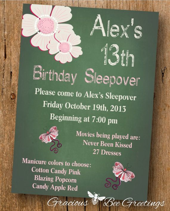 Tween Birthday Party Invitation Digital by GraciousBeeGreetings