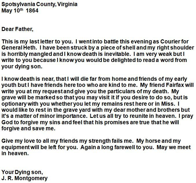 May 10, 1864 - Letter Home From Dying Confederate Soldier J R - letter of firing