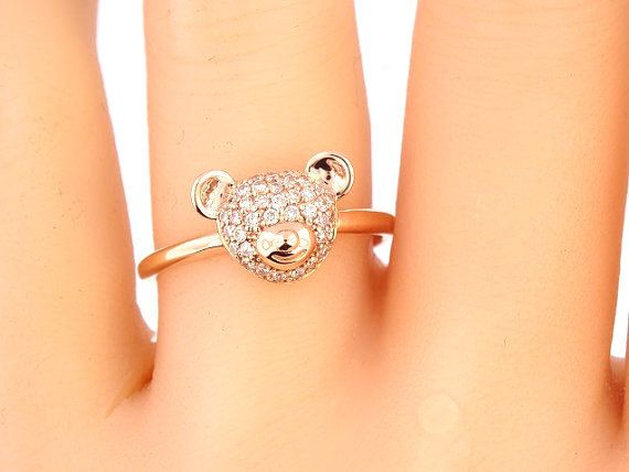 14K Rose Gold Teddy Bear Ring Stackable Band Wedding Anniversary Fashion Right Hand Art Deco Yellow White 18K