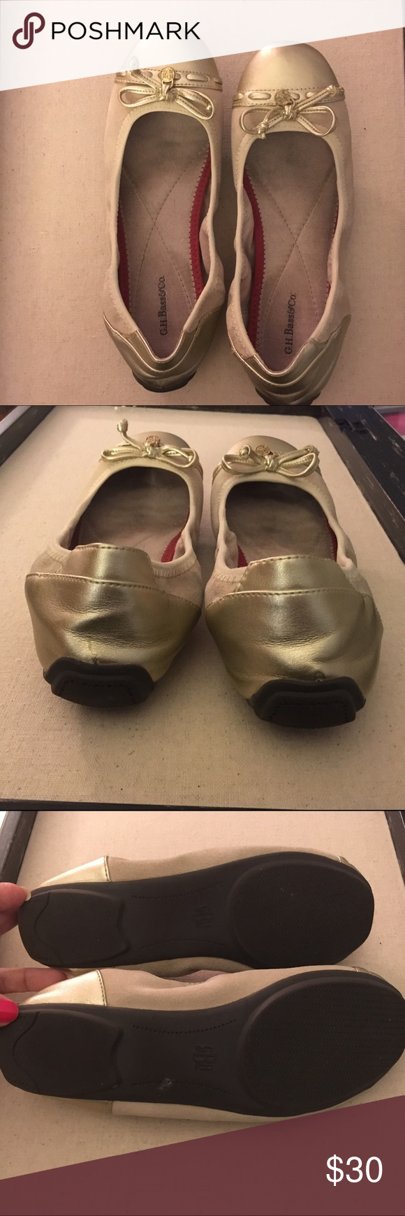 SALE! G.H. Bass&Co Gold Ballet Flats Used but in good condition. Hardly any wear on the soles. These are the most comfortable ballet flats I've ever worn. The padding is amazing! Suede and Leather. Rubber sole Bass Shoes Flats & Loafers