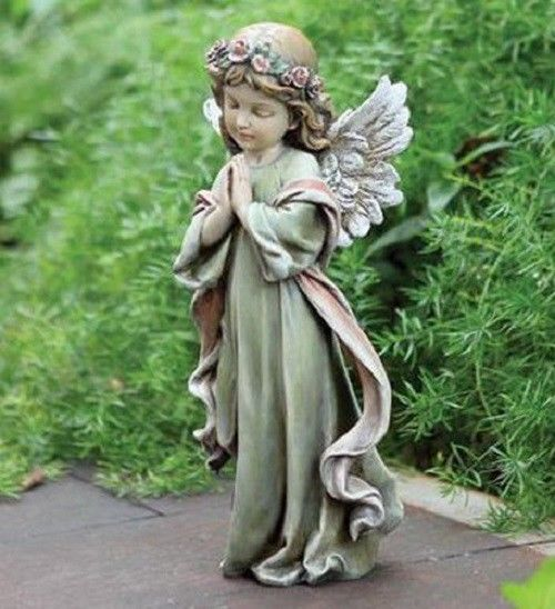 Small Angel Statues For Graves: Details About Garden Memorial Rock Praying Girl Angel