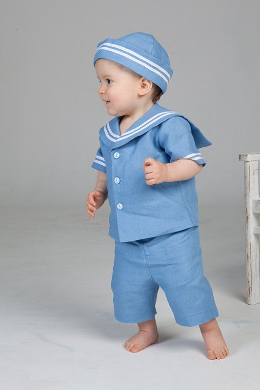 Baby boy sailor outfit baptism linen suit boy ring bearer ...