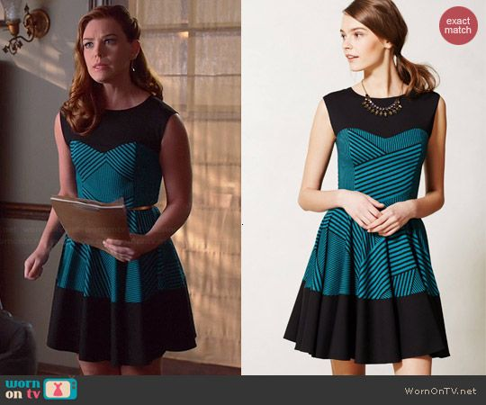 d2ec42bdf4 AnnaBeth s blue and black striped dress on Hart of Dixie. Outfit Details   http