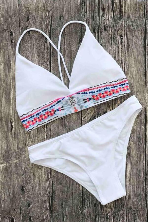 82d1692bf4d42 Floralkini Tribal Print Halter Longline Bikini Set – FloralKini ...