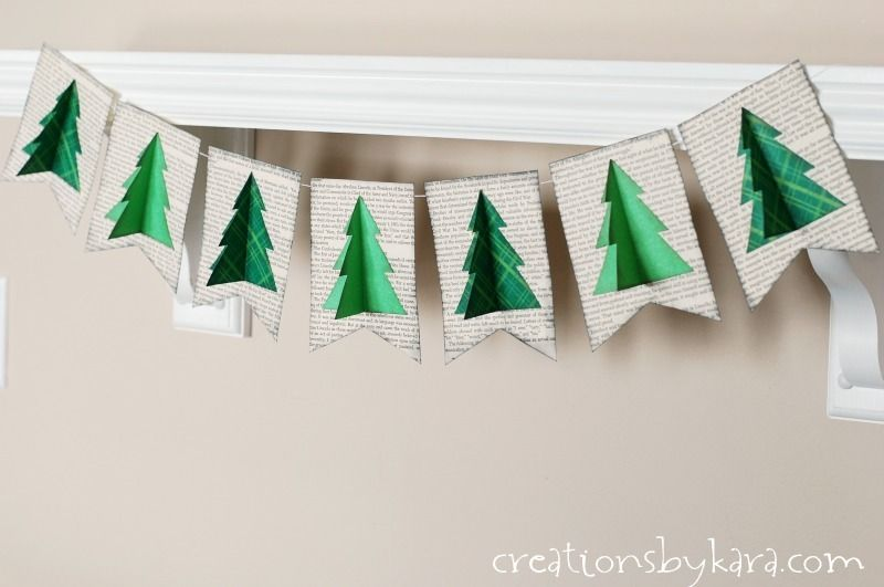 Step By Step Instructions For An Easy Paper Christmas Tree Banner Made Of Old Book Pages Office Christmas Decorations Christmas Paper School Christmas Party