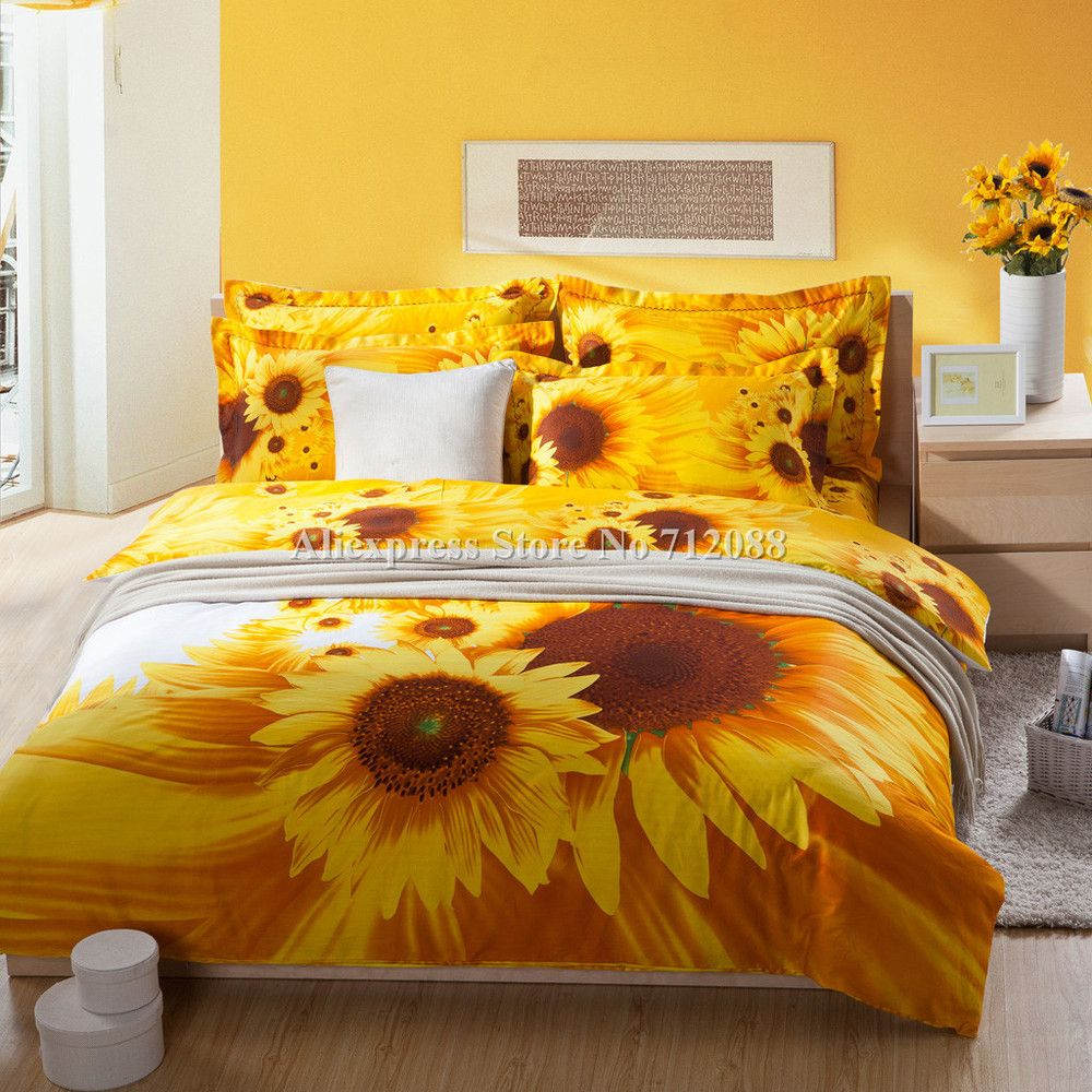 Hot Selling Yellow Sunflower Printed Cotton Bedding Sets Duvet Quilt Comforter Covers 4pcs Bedroom Queen King 3d Oil Pai Yellow Bedding Bedding Sets Home Decor