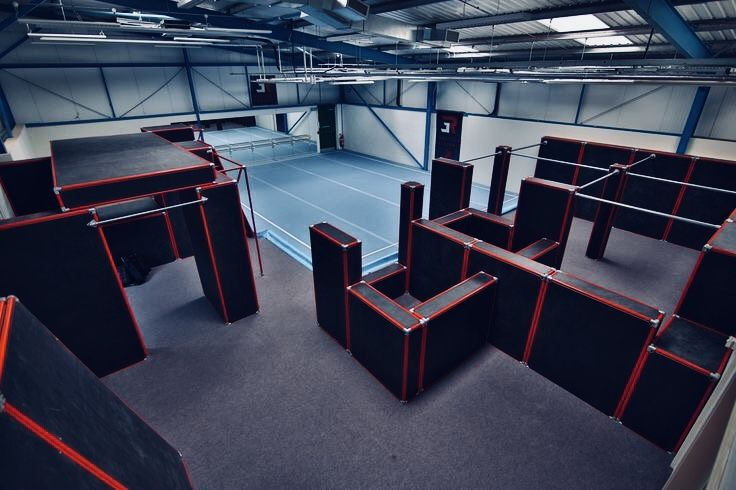 The training room was set up with an obstacle course