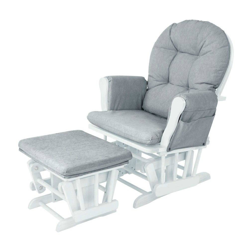 size 40 d4b80 017df Babylo Milan Glider Chair & Footstool (White)   Baby Dennis ...