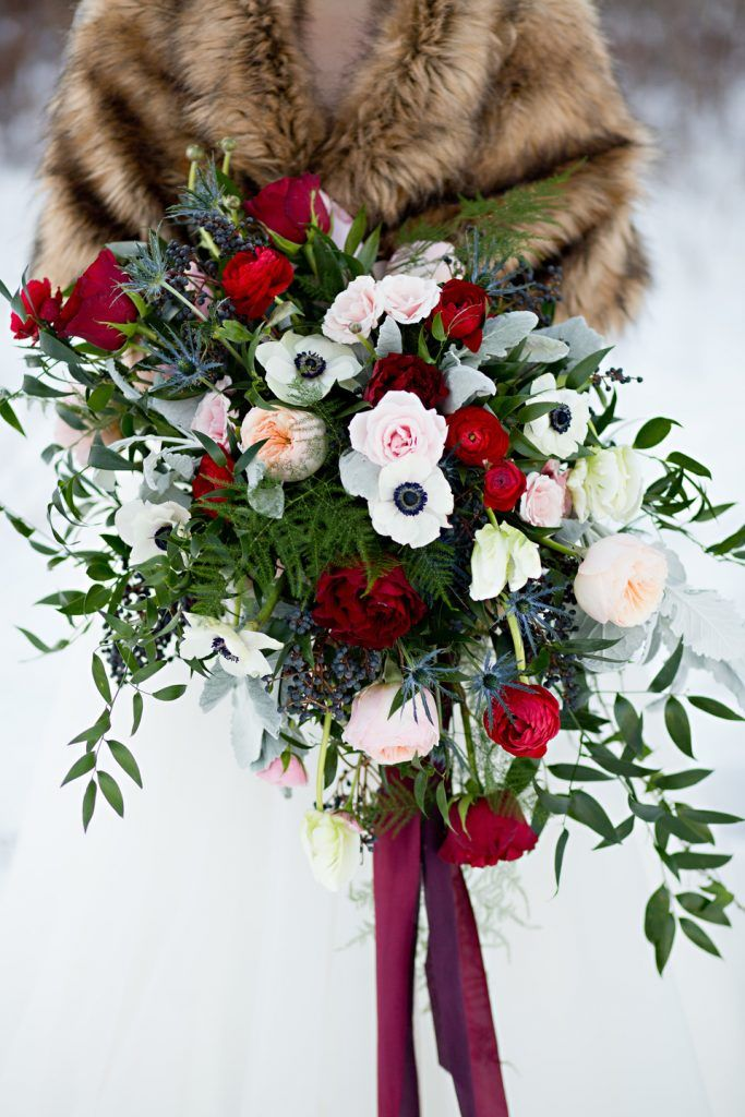 Leah   Chad: Classic Winter Wedding. Loose Bouquet, Wedding Bouquet, Winter Bouquet, Red Bouquet