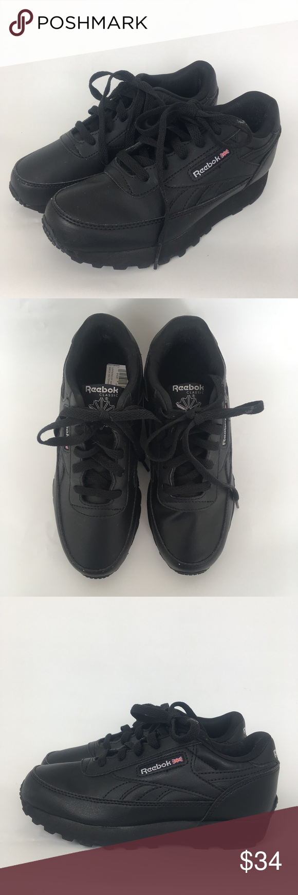 badcc1fd4293 Reebok classic sneakers kids size 1 Reebok classic kids sneakers -new  without tags -youth size 1 -Black color -lace up -rubber soles -unisex can  be used for ...