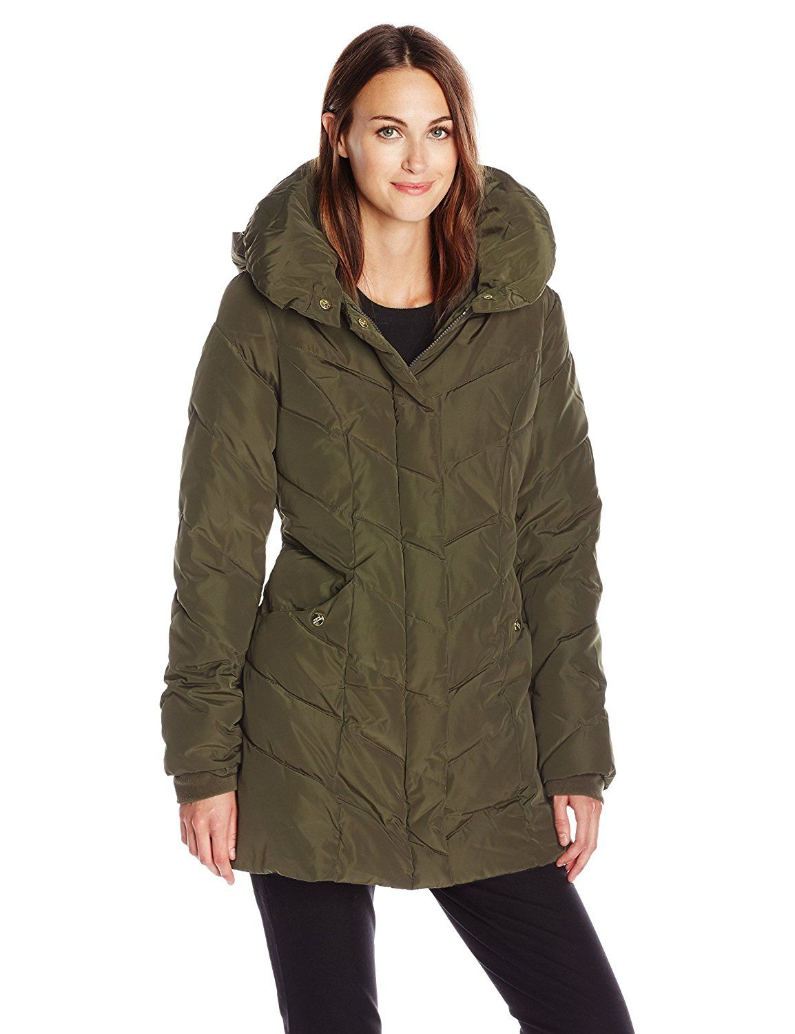 Steve Madden Women's Chevron Packable Puffer Coat with