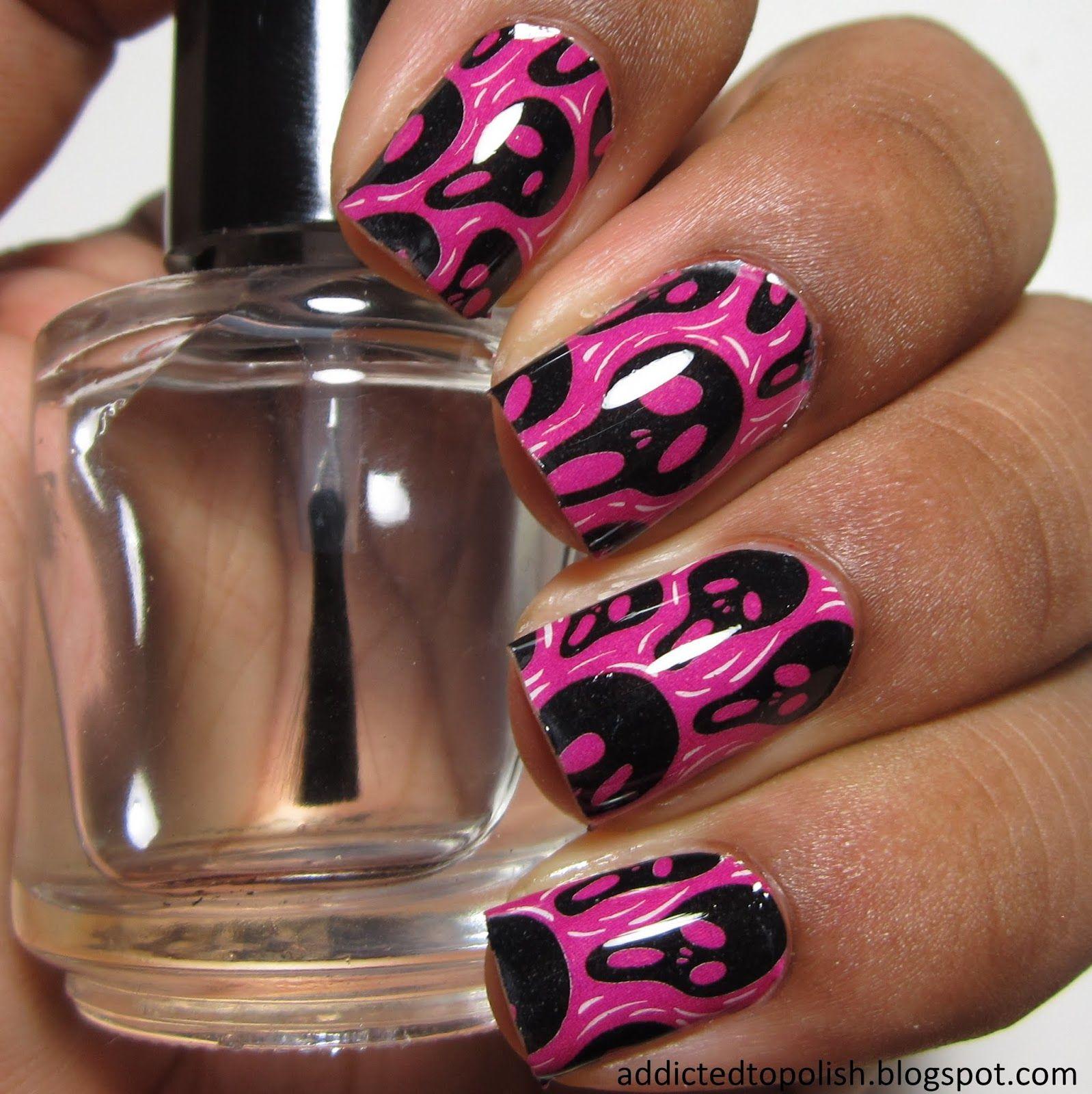 Omg Nail Strips Pink Scream Addicted To Polish Halloween Nails Beautiful Nail Designs Holloween Nails