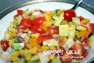 Greene Acres Hobby Farm: Summer Salad - avocado, tomatoes, lime, crab meat, corn, peppers, olive oil, chilantro, JALAPENO! YUM!!!