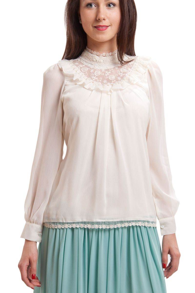 Embroidered Top With Sheer Sleeves