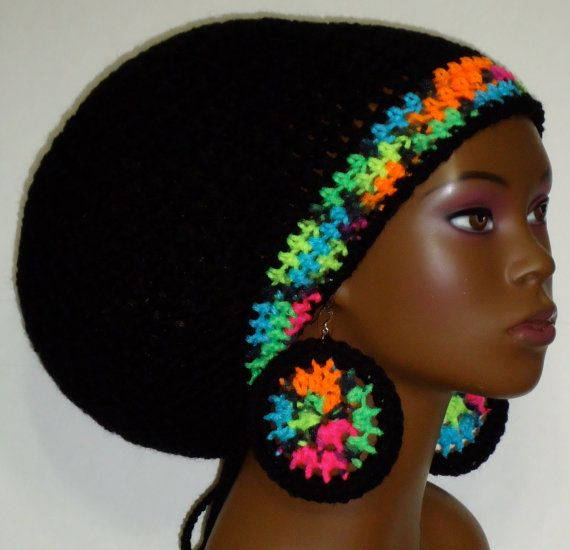 Black Neon Trim Crochet Large Rasta Tam with Drawstring and Earrings ...