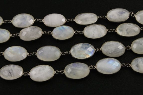 "Rainbow Moonstone Chain bezelled & set in sterling silver chain with antique finish, 36"" inch necklace. Gemstone Bezelled chain, (CHN/161)"