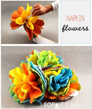 Turn leftover party napkins into a beautiful flower with ease with simple steps on sophie-world.com #recycle #flower #napkin #craft #DIY