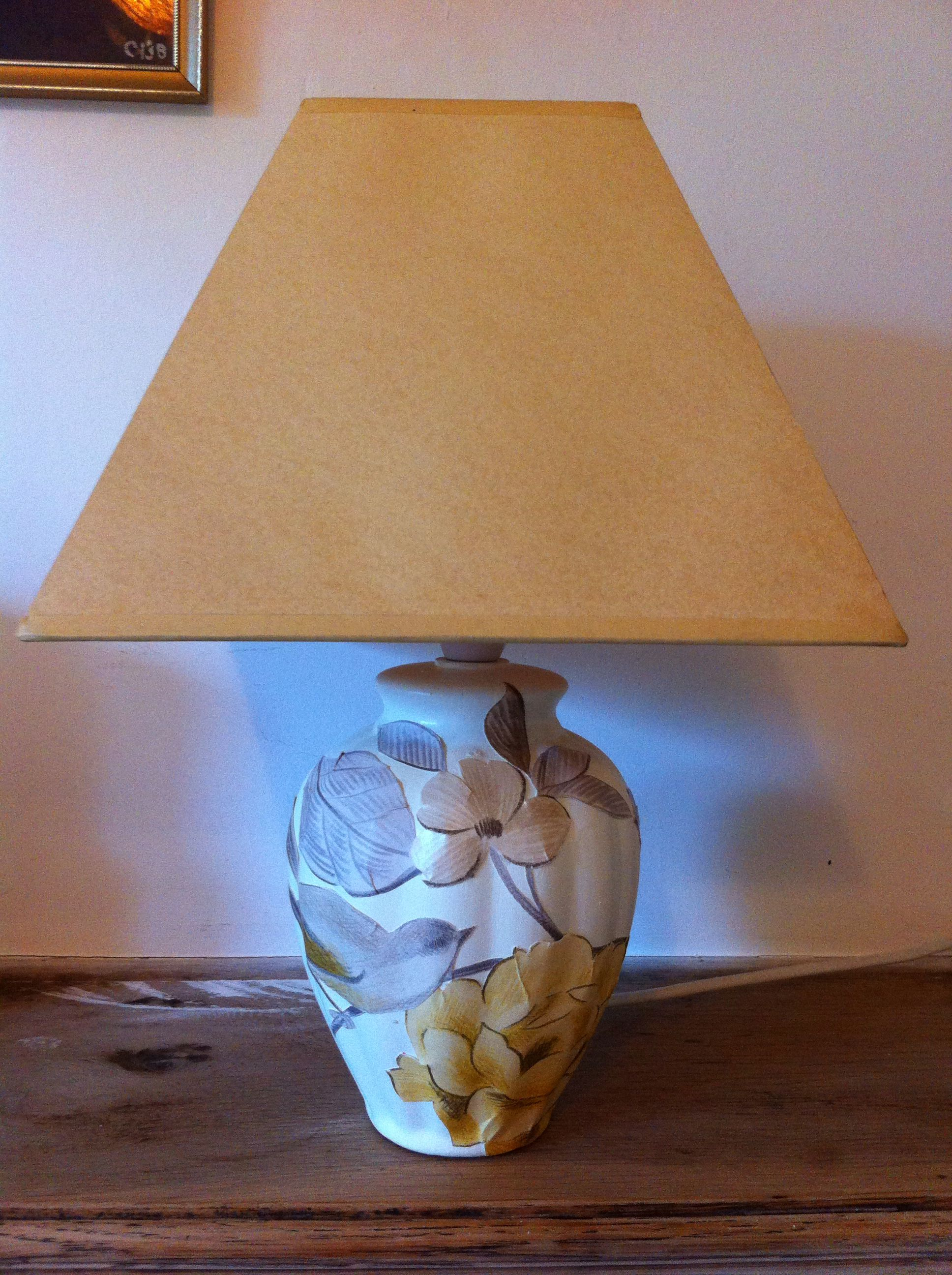 Decoupage lamp base with existing shade