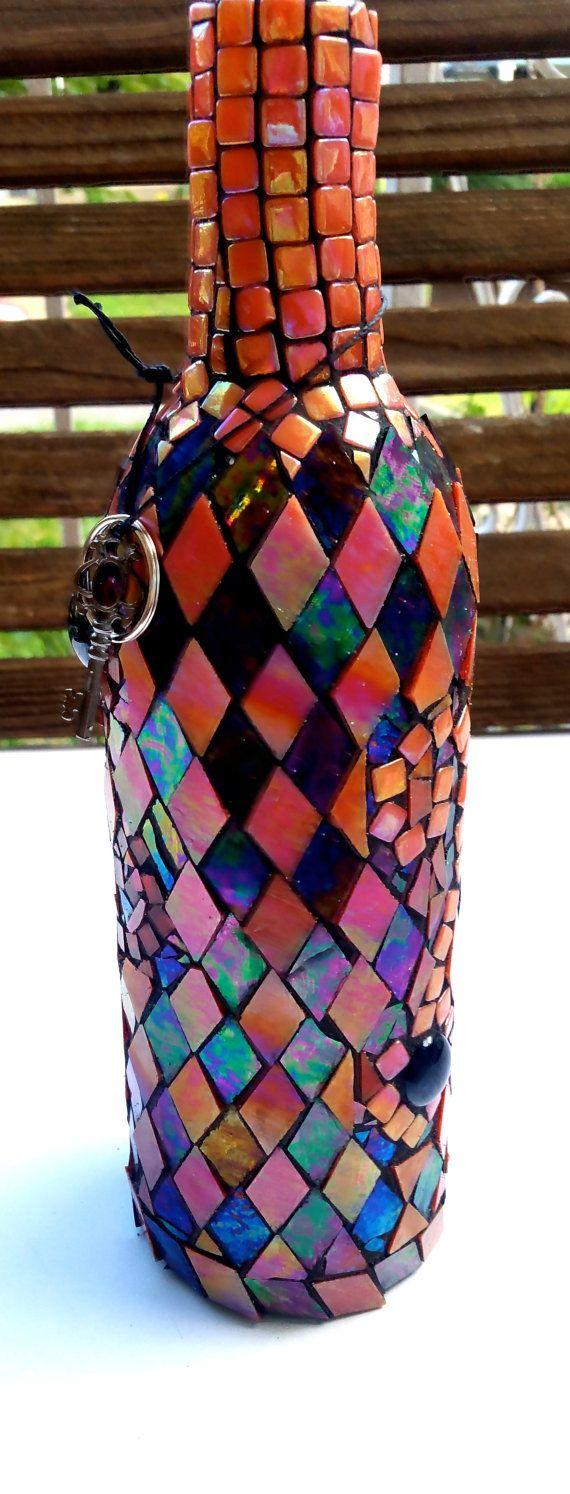 Incense Holder Mosaic Bottle Orange And Black Hippie Home Decor Halloween Boho With Key Accessory Mosaic Bottles Incense Holder Mosaic