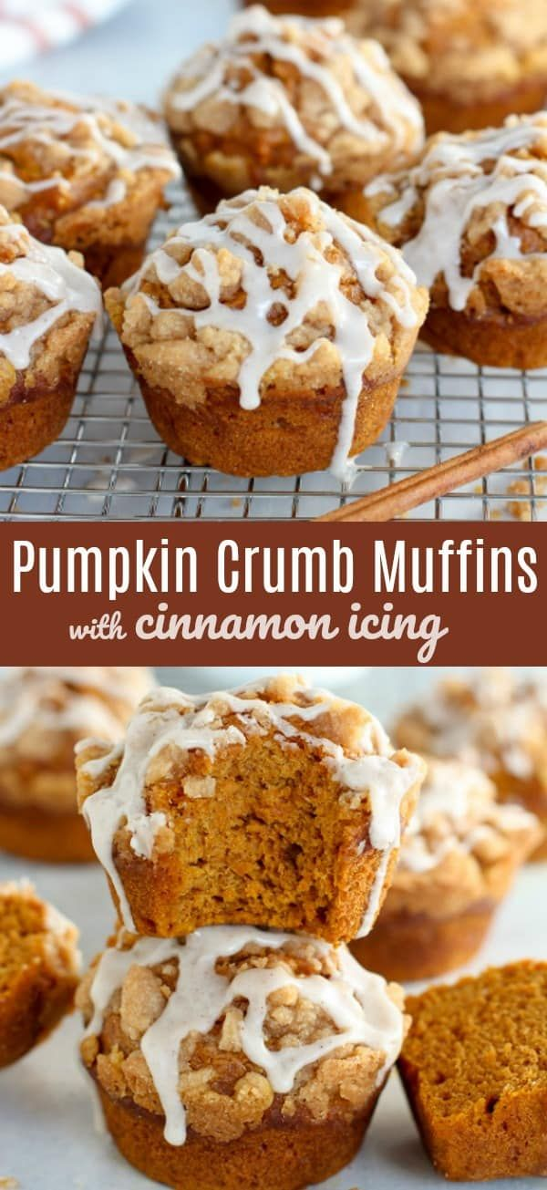 Moist and tender spiced Pumpkin Muffins topped with a brown sugar crumble and a drizzle of cinnamon icing. #pumpkinmuffins #pumpkin #pumpkinspice #fallbaking #pumpkinmuffins